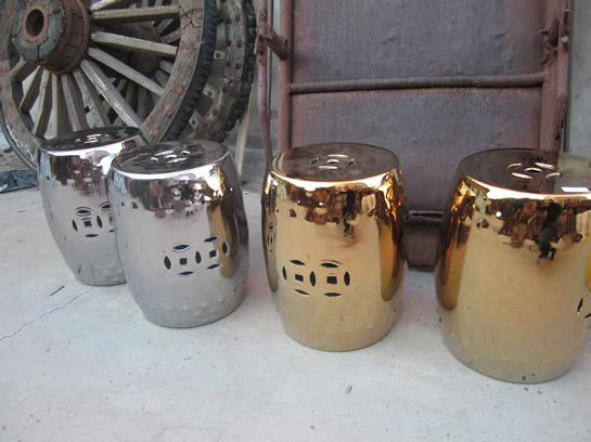 Silver & Gold Ceramic Stools