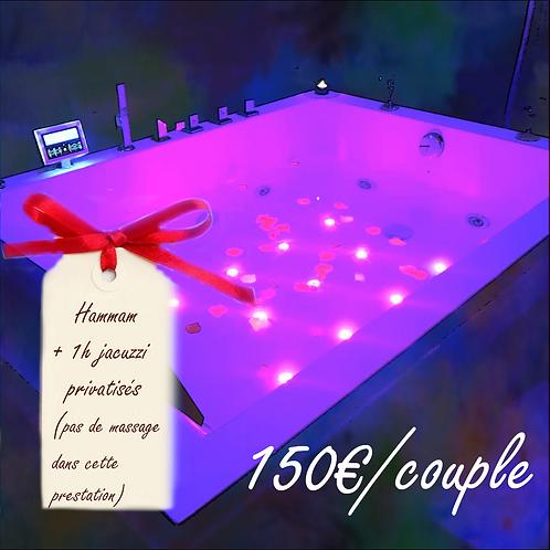 Chèque Cadeau Spa Privatisé pour couple: 1h de jacuzzi + 20 min de hammam