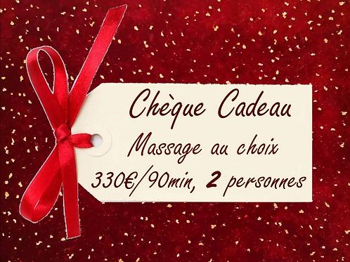 Chèque Cadeau, Massage au choix de 90 min pour 2 personnes (Duo) .