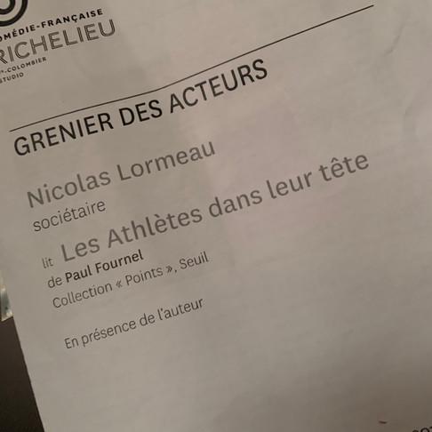 Nicolas Lormeau. Grenier des acteurs. Comédie Française