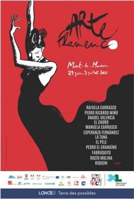 affiche Arte flamenco, danseuse sur fond rouge