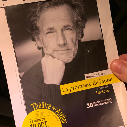 La promesse de l'Aube. Lecture de Stéphane Freiss. Théâtre de Poche Montparnasse