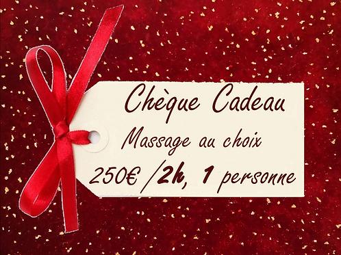 Chèque cadeau, Massage au choix de 2 heures pour 1 personne