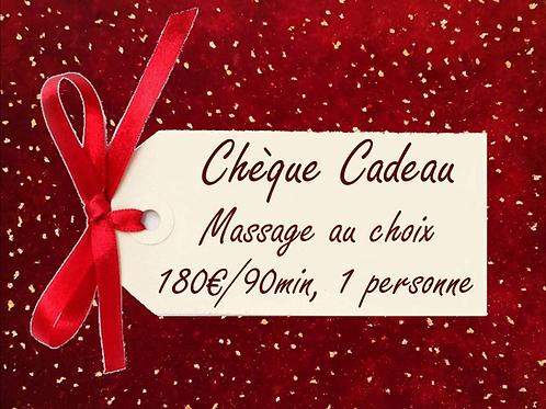 Chèque Cadeau, Massage au choix de 90 minutes pour 1 personne.