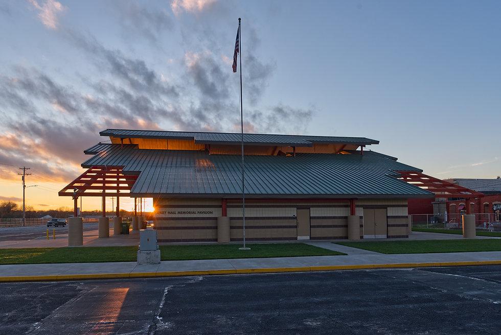 Metal building Pavillion at sunrise