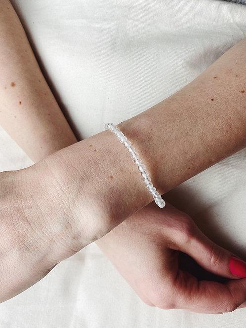 Clear Quartz Crystal Bracelet   faceted 4mm