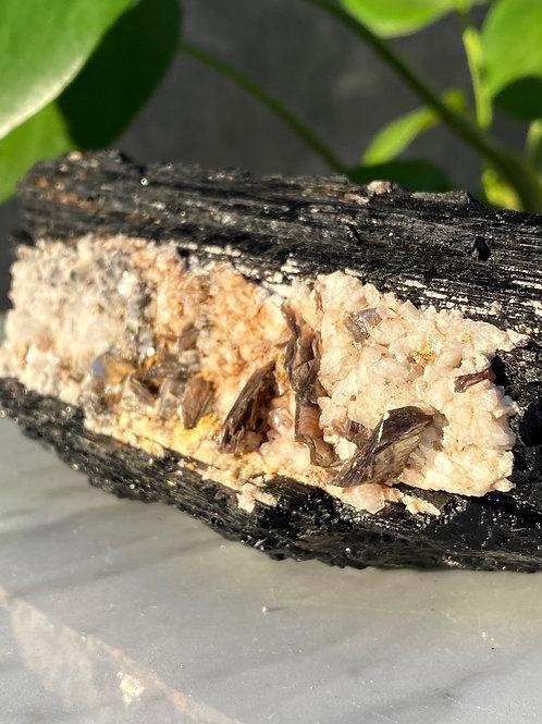 Black Tourmaline XXL   Quartz and Iron inclusions