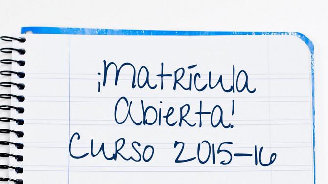 ABIERTO PLAZO DE MATRICULACIÓN CURSO 2015-2016