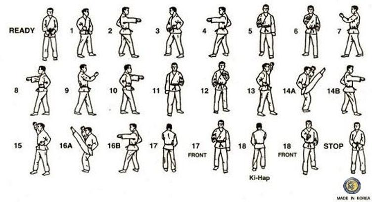 Taegeuk 1 poomsae pattern diagram