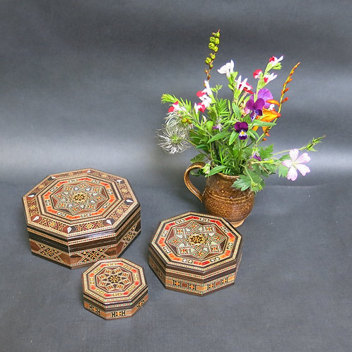 Three Nesting Octagonal Mosaic Boxes