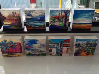 A group of newly minted Mini art works in the studio
