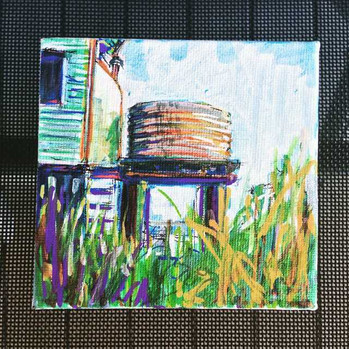4x4 inch Tank-scape: Venner Road Tank 2, Annerley