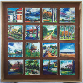 4x4 inch mini-art in a 16 panel grouping. Our Place
