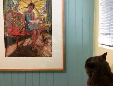 A Grey Feline Art Critic