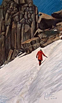 Red Climber scaling Mt Ossa Tasmania