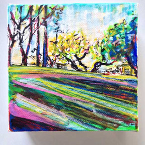 4x4 inch Parkscape: A Tarragindi Park in Spring
