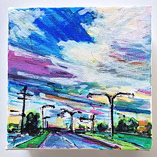 4x4 inch Streetscape: Sherwood Road Sunrise, Rocklea