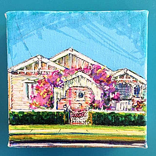 4x4 inch Queenslander Home Portait: Arbour with Pink Bougainvillea, Yeronga