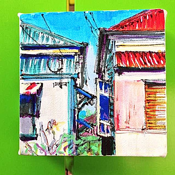 4x4 inch Building Portrait: Between a pair on Arthur Street, New Farm
