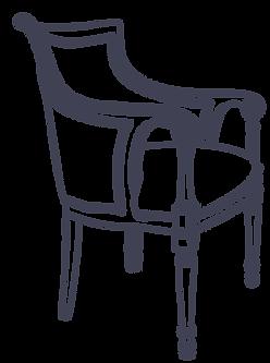 Dessin d'un fauteuil Louis XVI