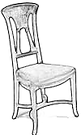 Dessin d'une chaise de style art nouveau