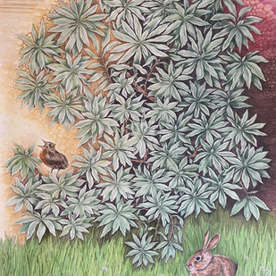 A Bunny a bird and a bush