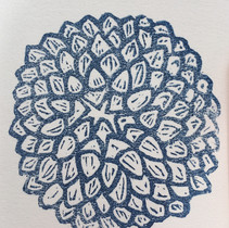 tiny lino print - dahlia