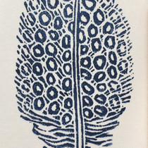 tiny lino print - feather