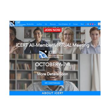 VIRTUAL RESCHEDULED - iCERT Member Meeting - October 6-7-8, 2020