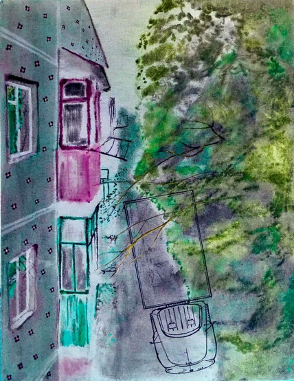 Вид с балкона. Газ 53