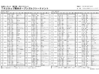 九州サーキット 第22回 TKUカップ 熊本OP 初日組合せ表のお知らせ