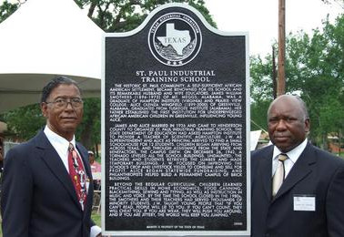 Benjamin Smothers (son of the school's founders) and James R. Handy, SPSF Board Chair, Caney City, Texas 2009