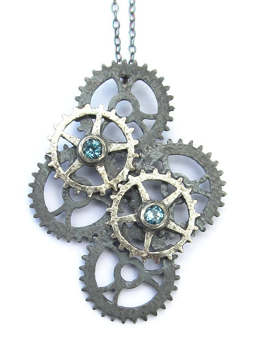 Oxidised Sterling Silver Six Cog Pendant