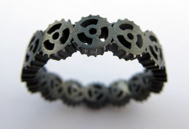 Oxidised Sterling silver cog ring