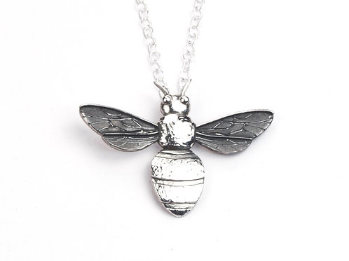 Sterling Silver Bee pendant with black wings