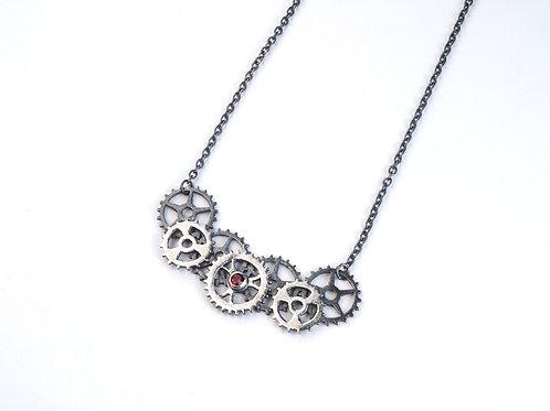 Sterling Silver and Garnet Multi Cog Necklace