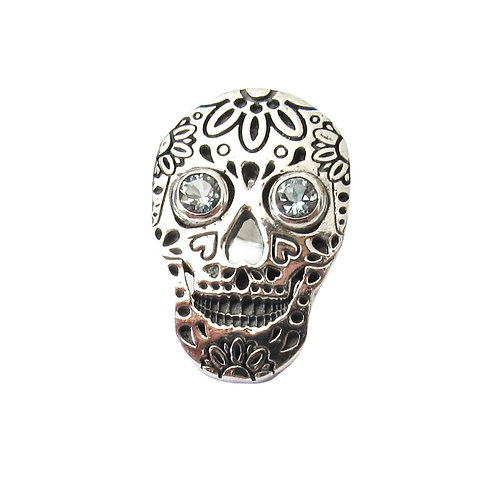 Sterling Silver and Aquamarine Skull Tie Pin