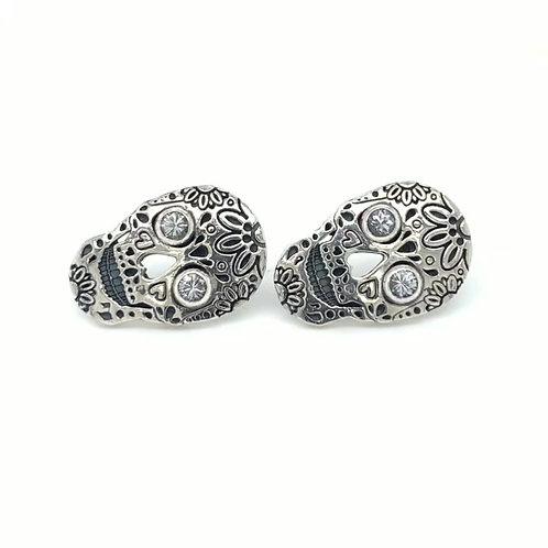 Sterling Silver and White Sapphire Skull Earrings