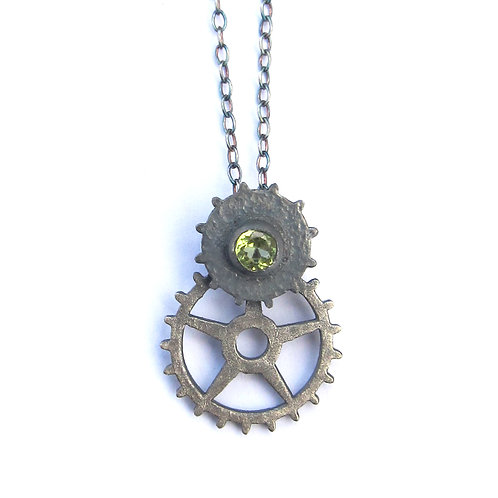 Oxidised Sterling Silver Peridot Double Cog Pendant