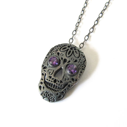 Oxidised Sterling Silver and Amethyst Skull Pendant