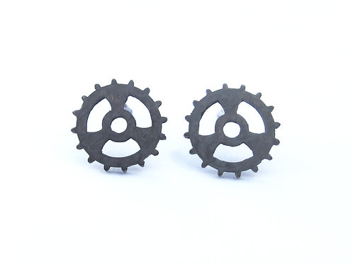 Single Oxidised Sterling Silver Cog Studs