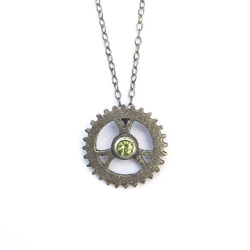 Oxidised Sterling Silver Peridot Single Cog Pendant