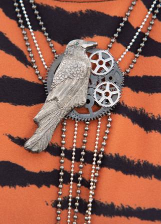 The Sterling silver and brass Raven Neckpiece