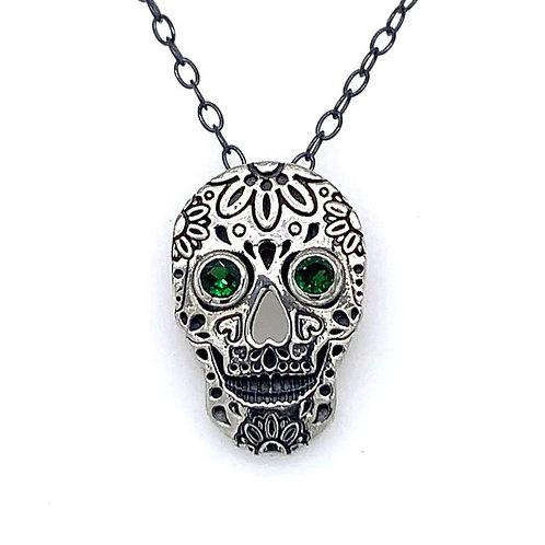 Tsavorite Sterling Silver Skull Pendant