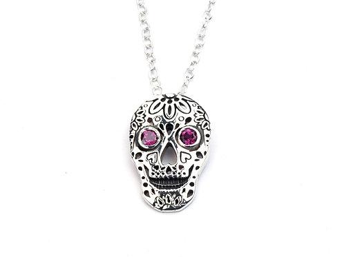 Sterling Silver Skull and Rhodolite Garnet pendant
