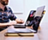 marketing agency meeting on laptop