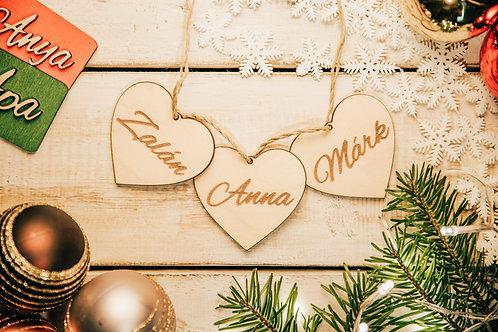 Karácsonyfa Dísz Szívecske 3