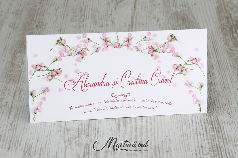 PC-022 Plic pentru bani la cumetrie sau nunta cu flori roz