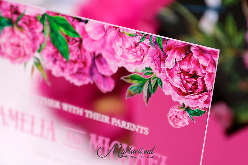 IS-033 Invitatie transparenta cu flori de culoare fuxie