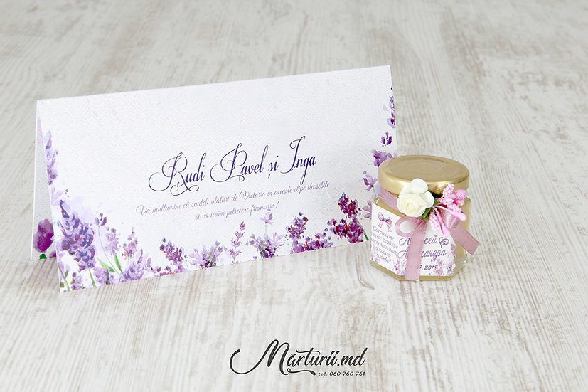 PC-023 Plic pentru bani la cumetrie sau nunta cu flori violet levantica